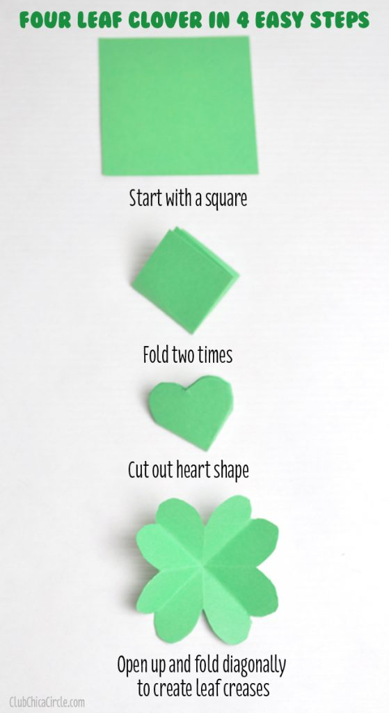 Paper folding of a four leaf clover