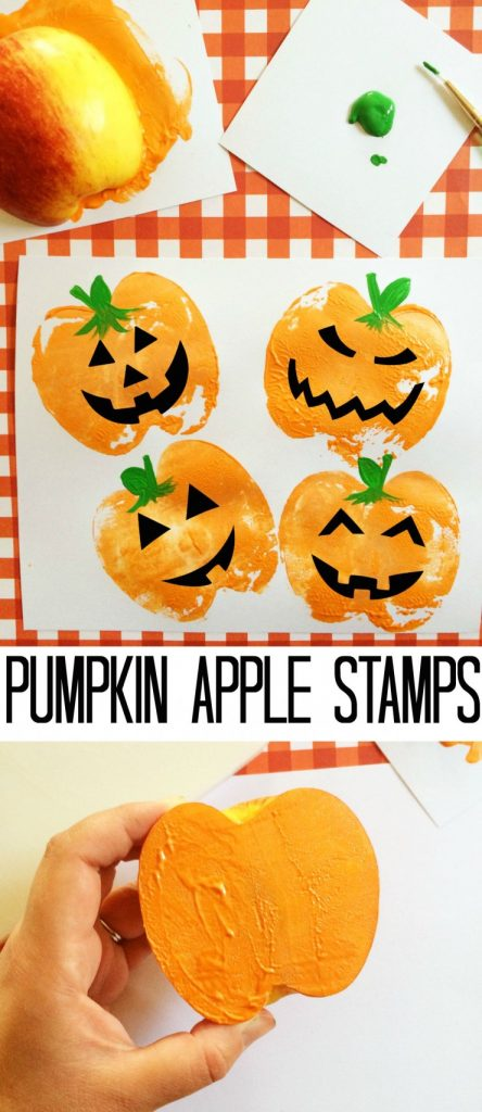 apple used as a stamp to make orange pumpkin images