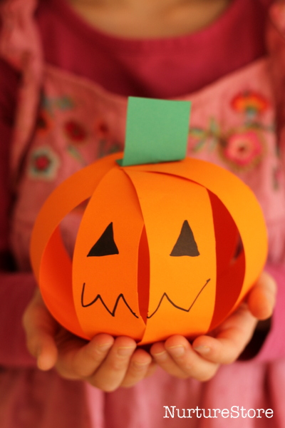 Paper Jack-o-lantern made from paper strips